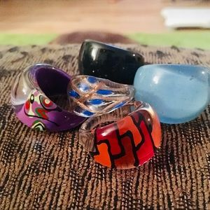 Collection of 5 Vintage Domed Acrylic Rings